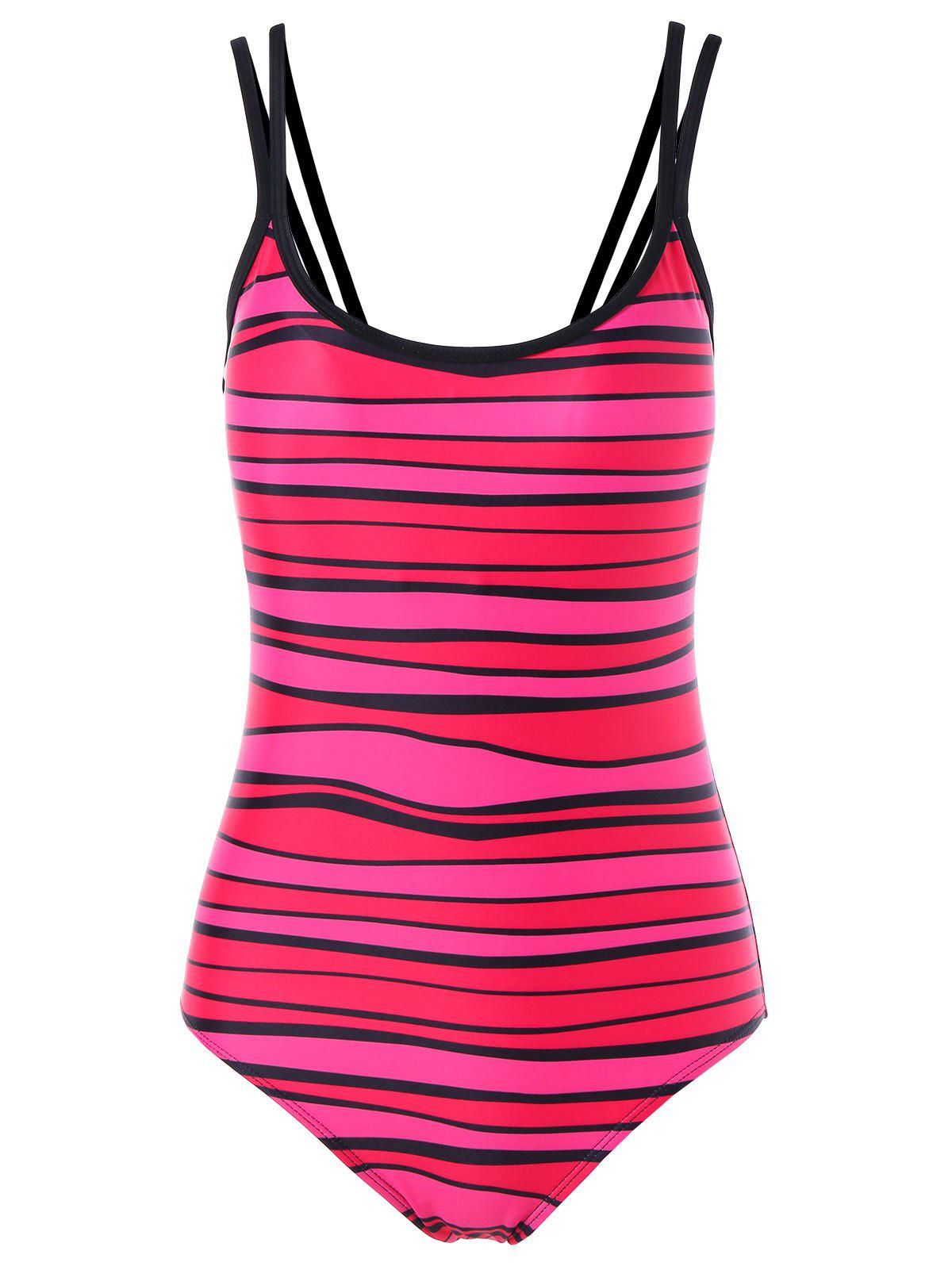 Sale Spaghetti Strap Stripe Padded One Piece Swimwear