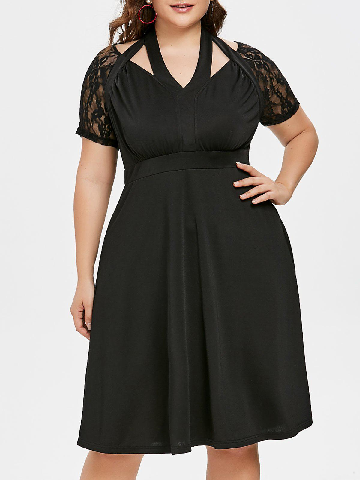 New Plus Size Cutout Lace Trim Halter Dress