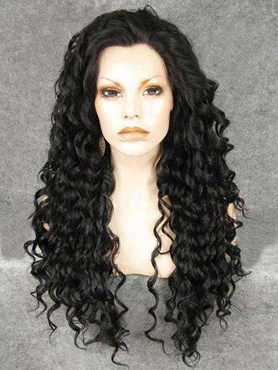 Best Long Oblique Bang Deep Curly Synthetic Wig