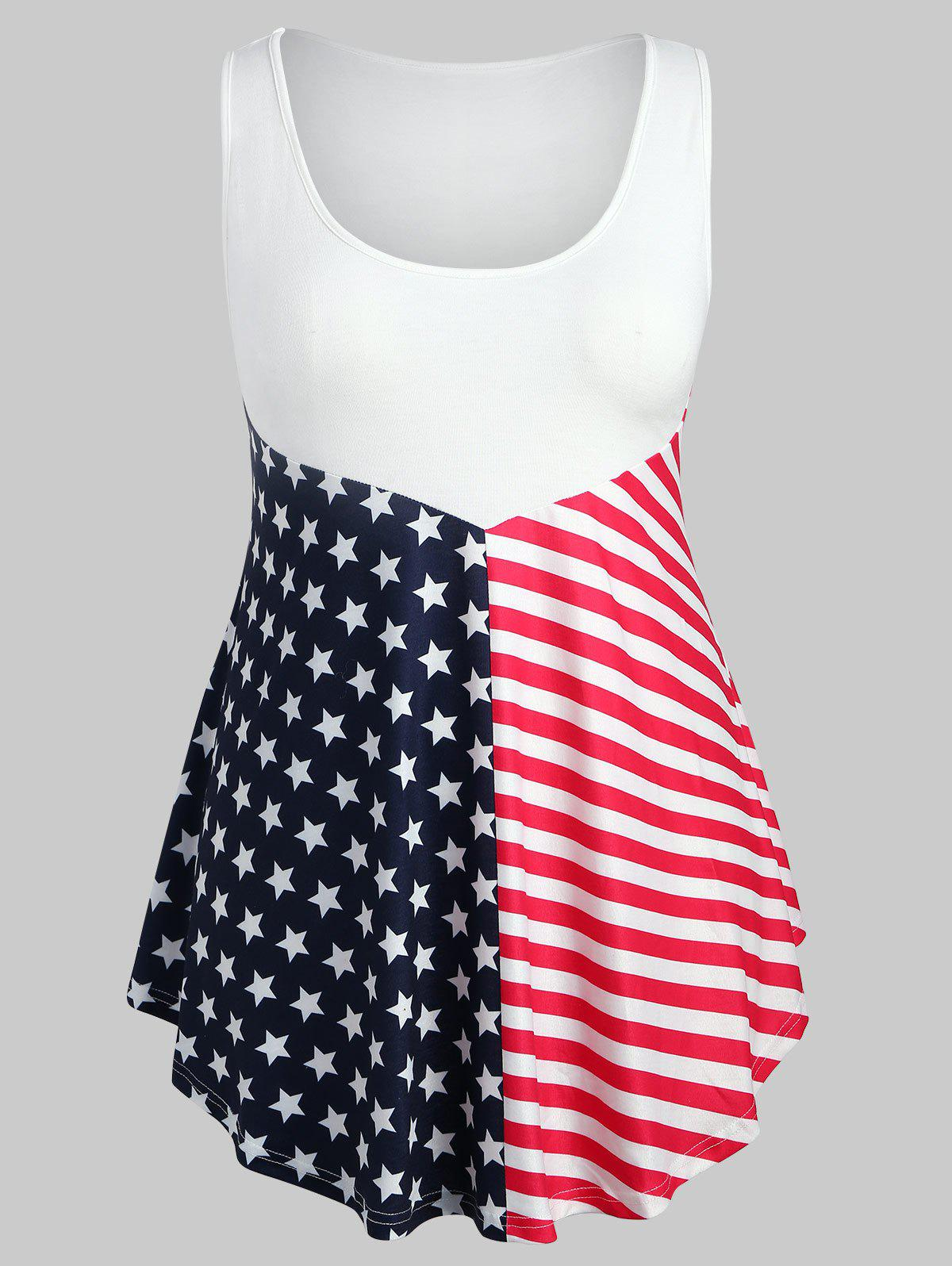 Fancy Plus Size Patriotic American Flag Tank Top