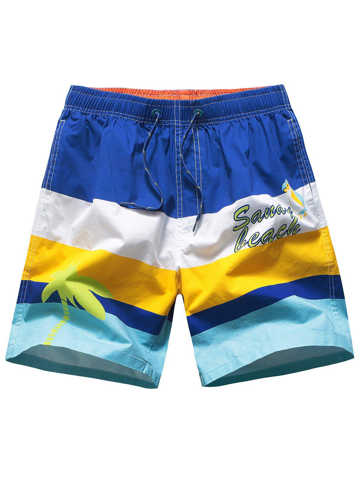 Discount Drawstring Color Block Beach Shorts