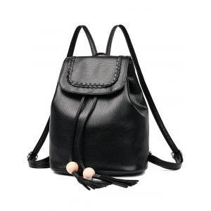 Outdoor PU Leather Braid Flapped Backpack -