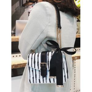 Ribbon Detail Striped Chain Shoulder Bag -