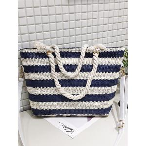 Naval Style Striped Straw Tote Bag with Shoulder Strap -