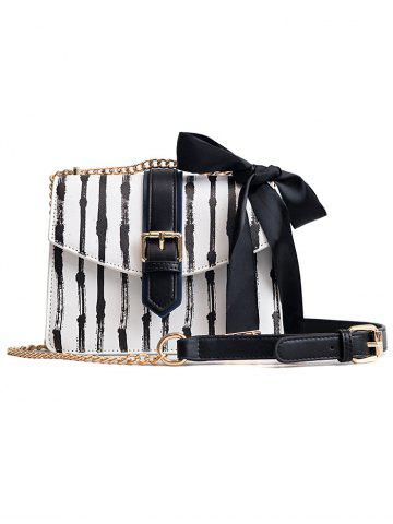 Best Ribbon Detail Striped Chain Shoulder Bag