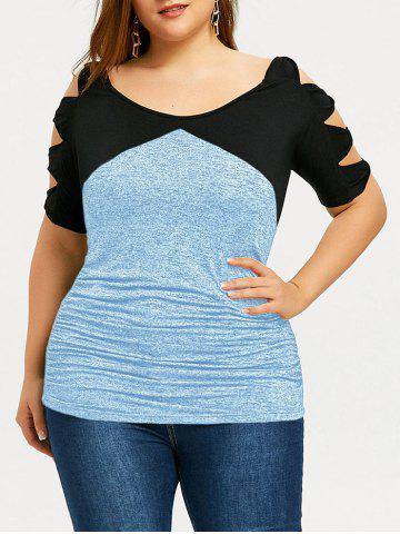 Fashion Plus Size Two Tone Bow Ladder Sleeve T-shirt