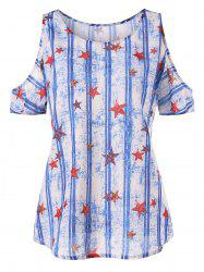 Stars and Stripes Print Shoulder Cut T-shirt -