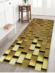 Shiny Golden Square Metal Print Non Slip Floor Rug -