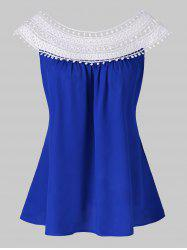 Crochet Overlap Ruched Blouse -