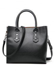 Faux Leather Minimalist Handbag with Shoulder Strap -