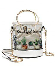 2 Pieces Transparent Cactus Print Casual Crossbody Bag -