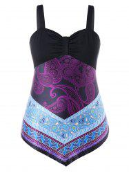 Plus Size Paisley Sweetheart Neck Tank Top -