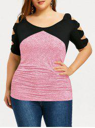 Plus Size Two Tone Bow Ladder Sleeve T-shirt -