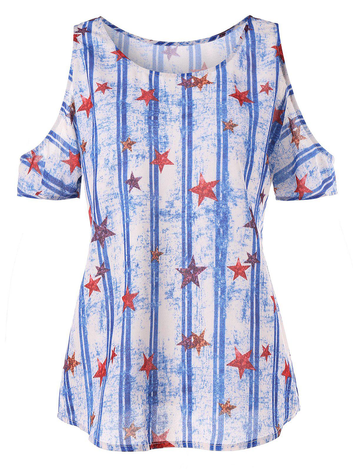 Discount Stars and Stripes Print Shoulder Cut T-shirt