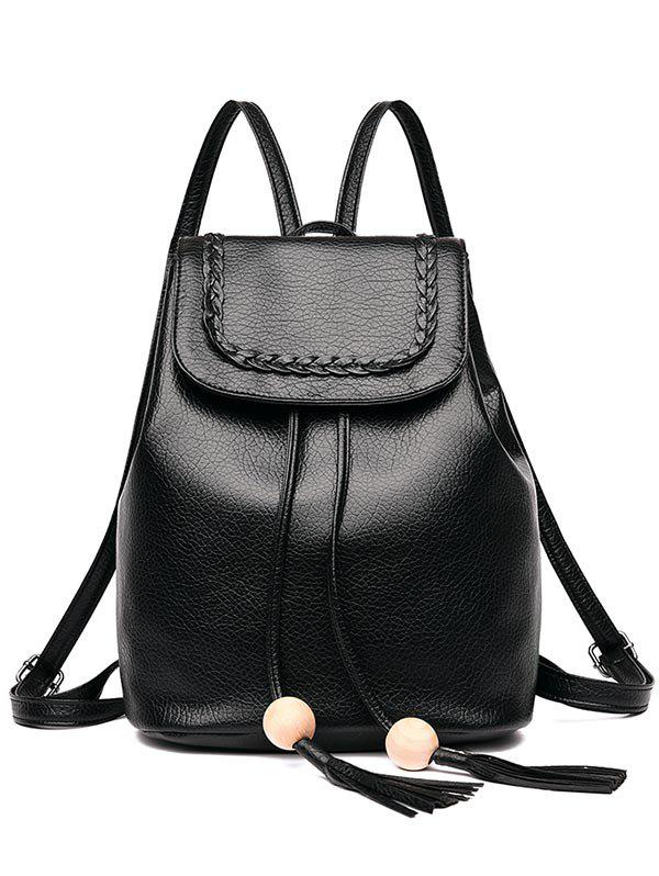 Shops Outdoor PU Leather Braid Flapped Backpack