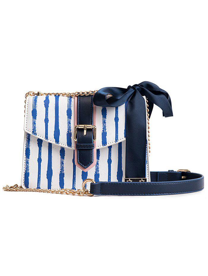 Trendy Ribbon Detail Striped Chain Shoulder Bag