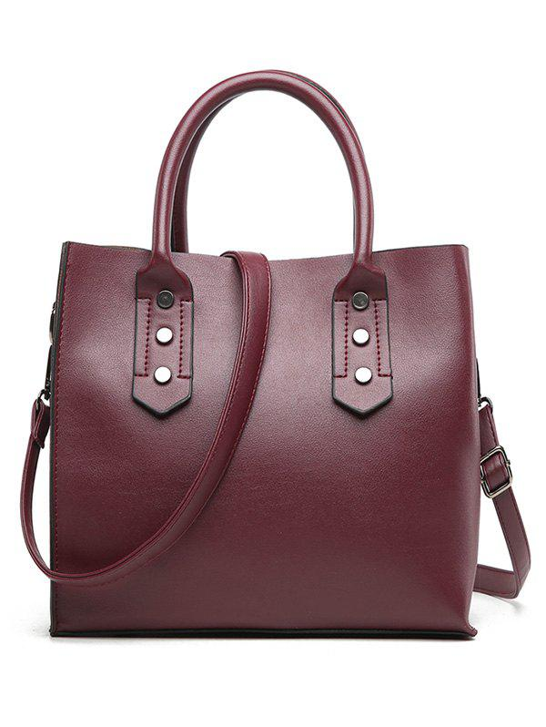 Buy Faux Leather Minimalist Handbag with Shoulder Strap