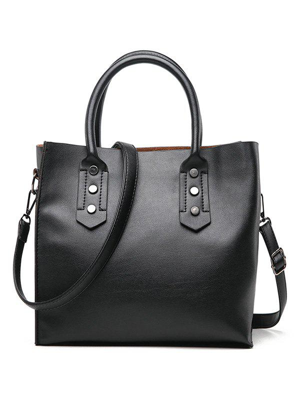 New Faux Leather Minimalist Handbag with Shoulder Strap