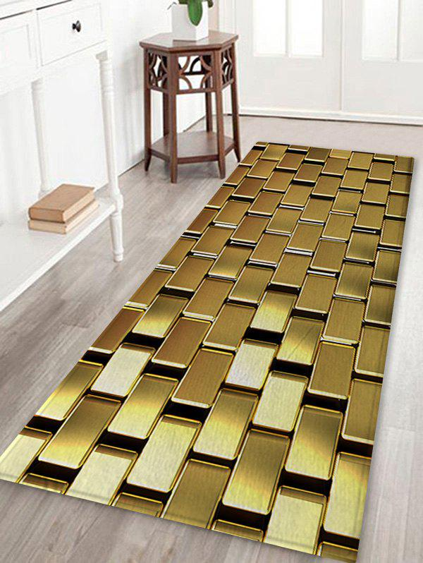 Fashion Shiny Golden Square Metal Print Non Slip Floor Rug