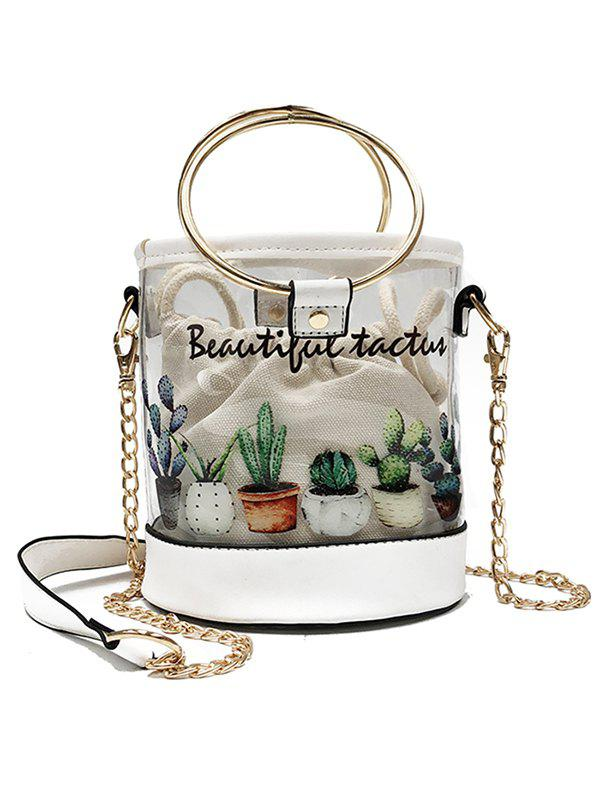Chic 2 Pieces Transparent Cactus Print Casual Crossbody Bag