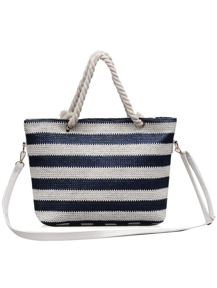 Hot Naval Style Striped Straw Tote Bag with Shoulder Strap