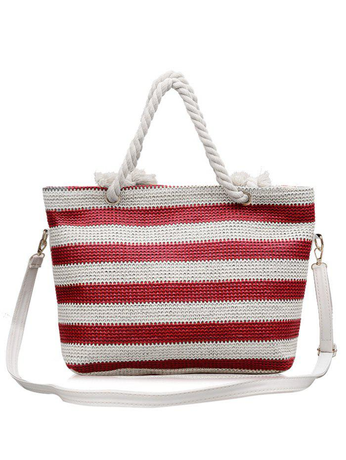 Outfits Naval Style Striped Straw Tote Bag with Shoulder Strap