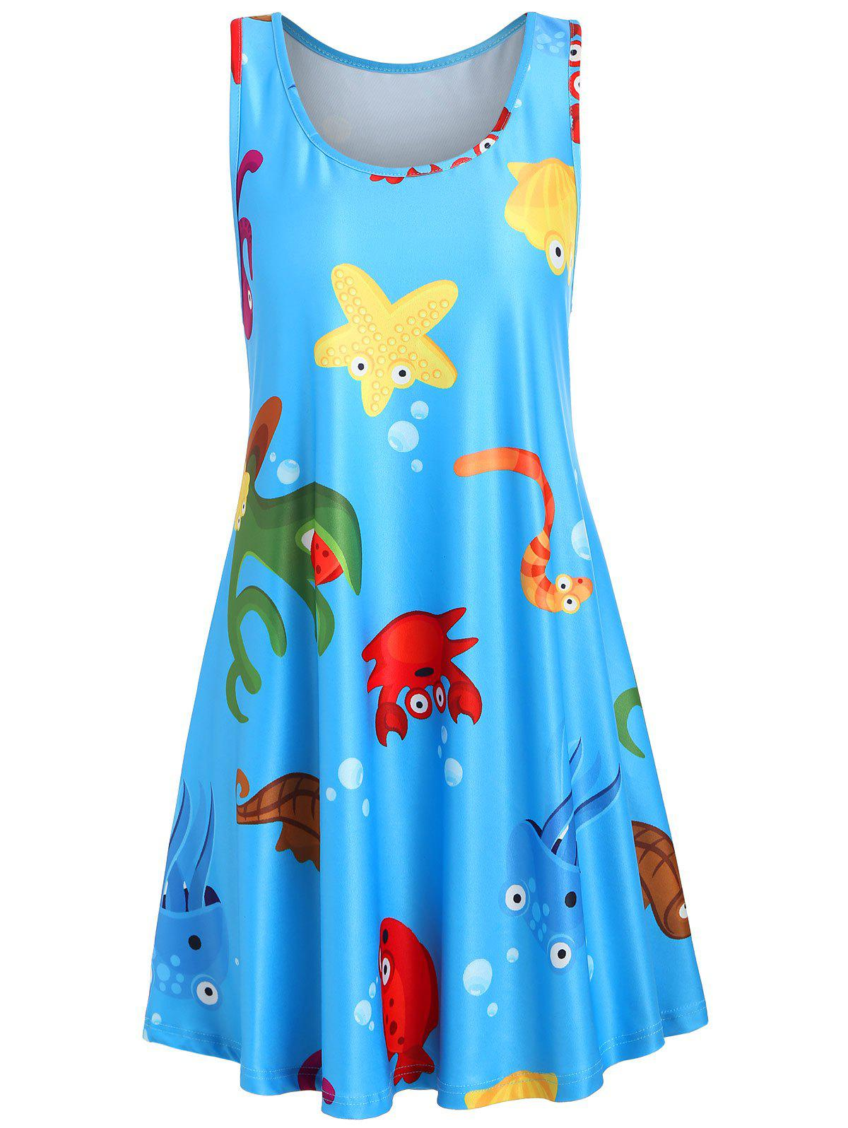 Buy Underwater Animal Print Racerback Shift Dress