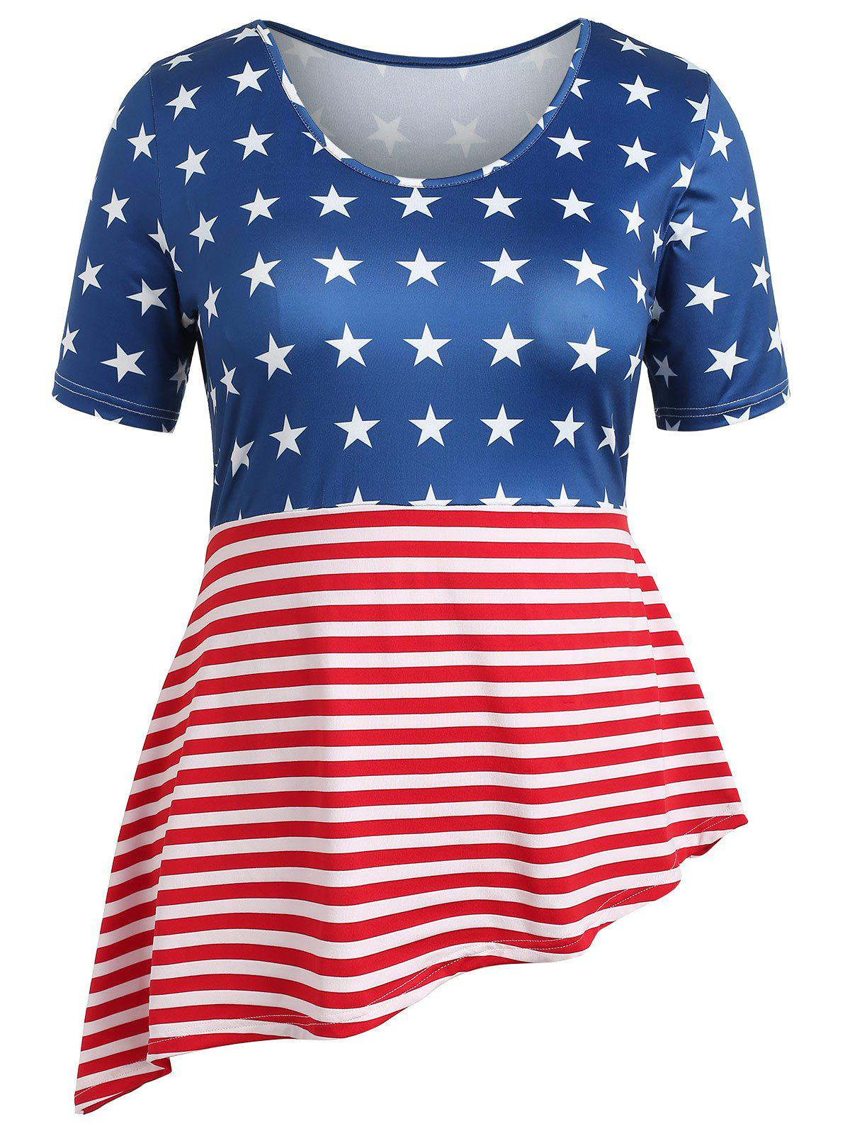 9e410d272e0 62% OFF   2019 Plus Size Patriotic American Flag Asymmetrical T ...