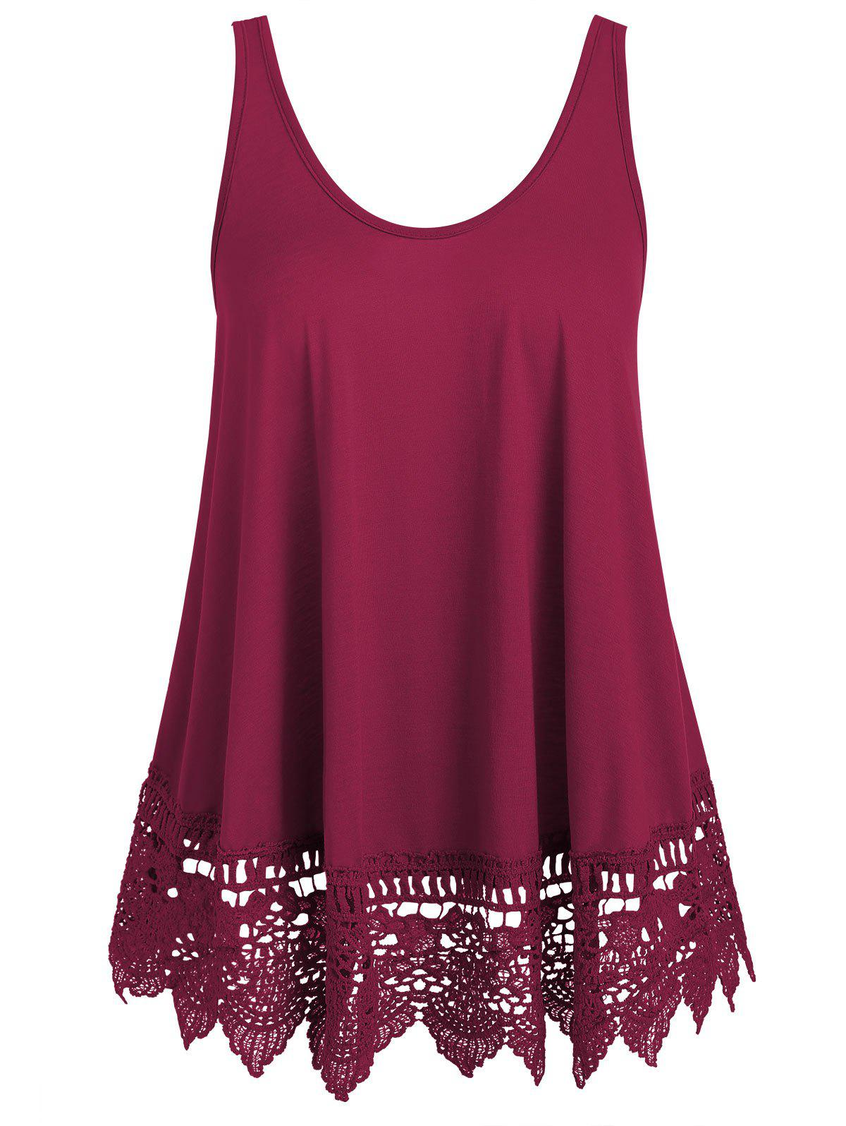 Discount Lace Panel U Neck Tank Top