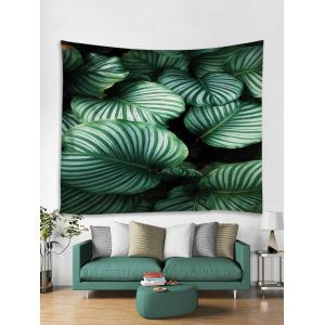 Tropical Green Leaves Print Wall Tapestry -
