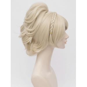 Long Inclined Bang Braided Ponytail Anime Cosplay Synthetic Wig -
