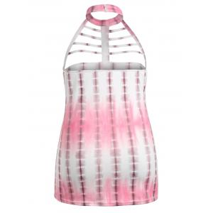 Tie Dye Hollow Out Backless Plus Size Tank Top -