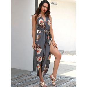 Floral Print Halter Jumpsuit with Belt -