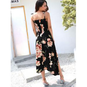 Floral Print Spaghetti Strap Asymmetrical Dress -