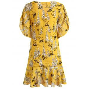 Flounce Print Ruched Dress -