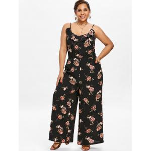 Plus Size Floral Wide Leg Jumpsuit -