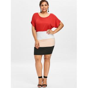 Plus Size Batwing Sleeve Tight  Dress -