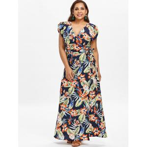 Plus Size Printed High Split Maxi Dress -