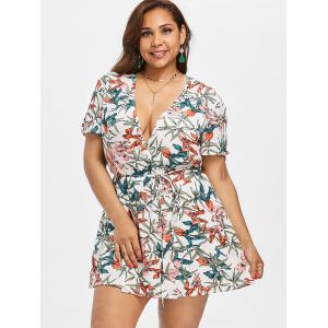 Plunge Plus Size Printed Wrap Romper -