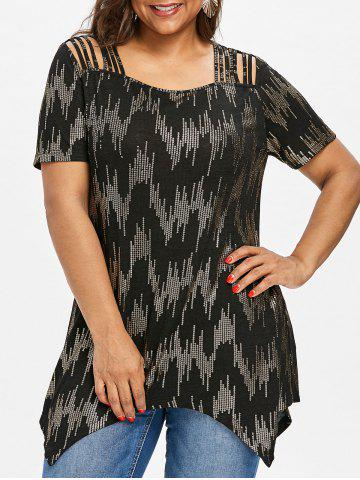 Sequined Plus Size Strappy Tee - Black - 3xl