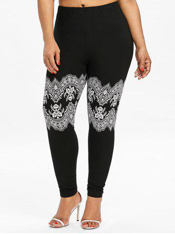 Chic Plus Size Lace Print High Waist Leggings