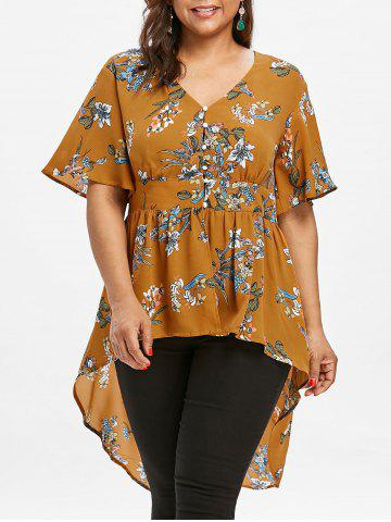 Plus Size Tropical Floral High Low Hem Blouse - Bee Yellow - 3x