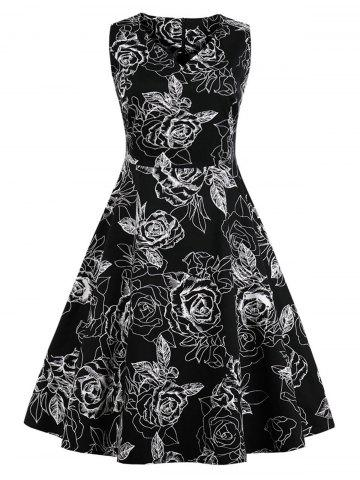 New Plus Size Vintage Floral Dress