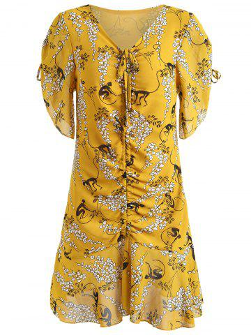Outfits Flounce Print Ruched Dress