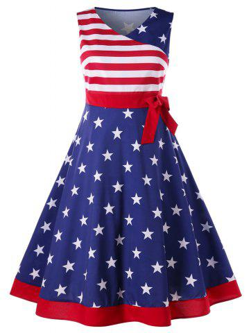 Fashion Plus Size American Flag Tea Length Dress