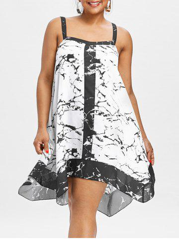 Fashion Plus Size Sleeveless Marble Print Dress