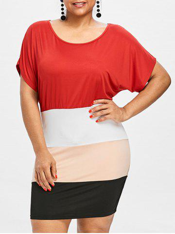 Shop Plus Size Batwing Sleeve Tight  Dress