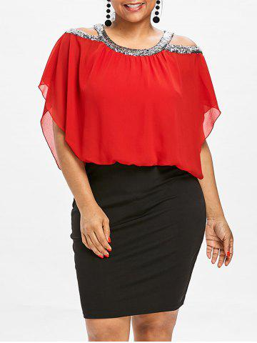 Ruby Red 3x Plus Size Cut Out Sequined Blouson Dress Rosegal