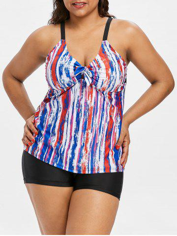 Affordable Tie Dye Bowknot Plus Size Skirted Tankini Set