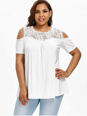3669ce4fcaa Lace Panel Plus Size Short Sleeve T-shirt